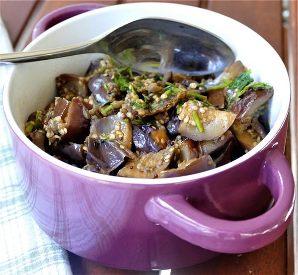 Fresh Fenugreek Eggplant Sauté