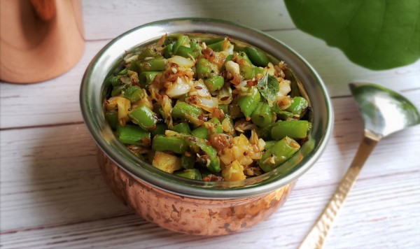 Cabbage Green Beans Poriyal Mildly Spiced Vegan South Indian Saute